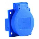 Schuko-Einbaustekdose mit Klappdeckel, blau