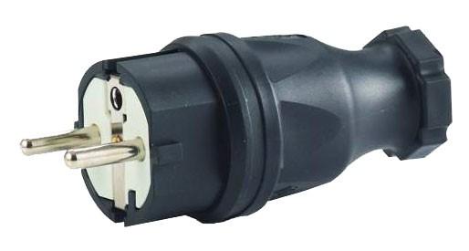 Schuko-Stecker, schwarz 250 V / 16 A, für Querschnitte bis 3x2,5 mm²