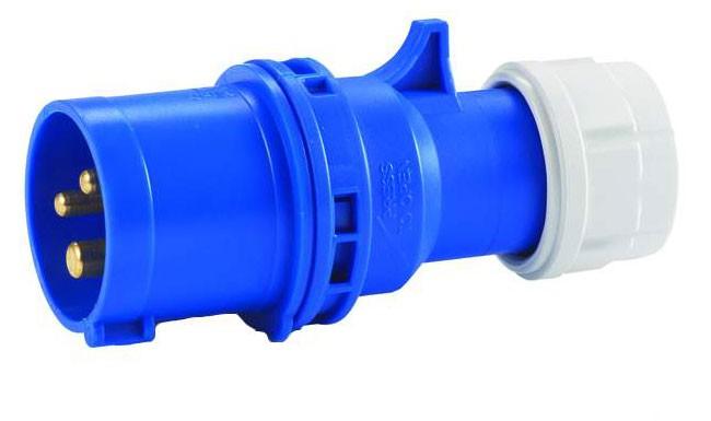 CEE-Stecker 3x16 A mit Twist-Schnellverschluss 250 V / 16 A, für Querschnitte bis 3x2,5 mm²