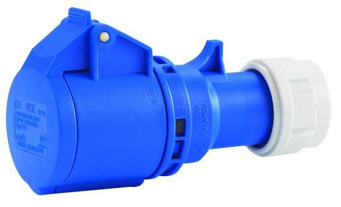 CEE-Kupplung 3x16 A mit Klappdeckel und Twist-Schnellverschluss 250 V / 16 A, für Querschnitte bis 3x2,5 mm²
