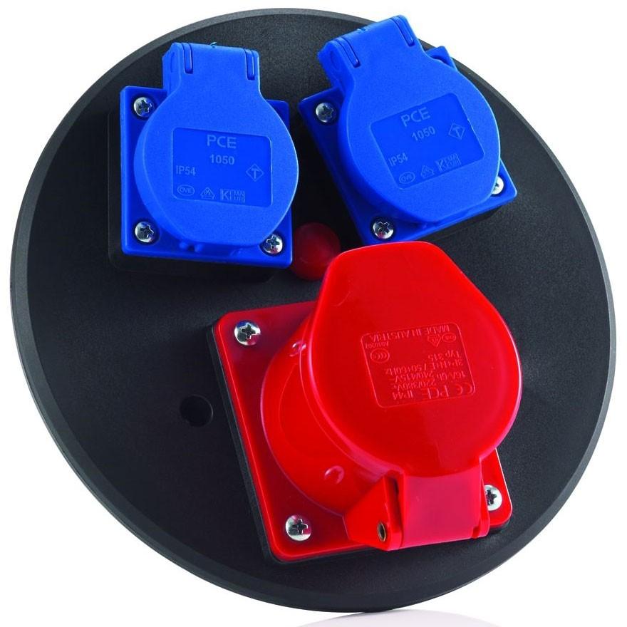 2 x Schuko, 1 x CEE 5x16 A mit Thermoschutzschalter Schutzart IP44