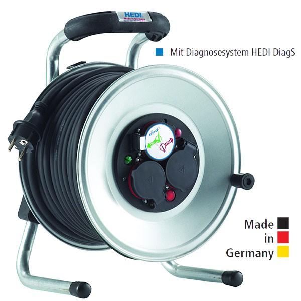 Kabeltrommel Primus Stahlblech, mit Gummi-Leitung und Diagnosesystem HEDI DiagS