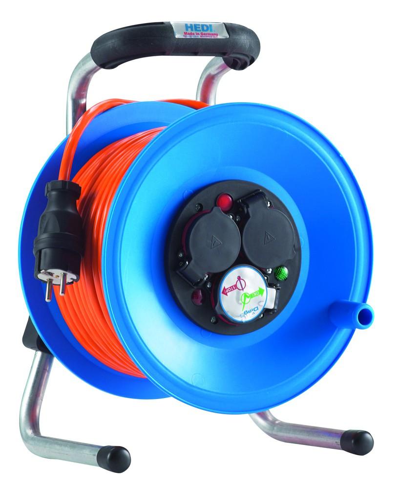 """Kunststoff-Kabeltrommel """"Primus"""" mit 40 m K35 Baustellenleitung AT-N07V3V3-F 3G1,5, orange"""