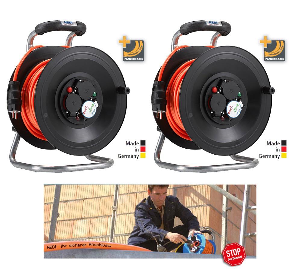 Bedruckungs-Paket 1:10 2 x Kabeltrommel Professional Kunststoff in Schwarz, 50 m H07BQ-F 3G1,5 Orange mit 3-fach- Steckdose DiagS