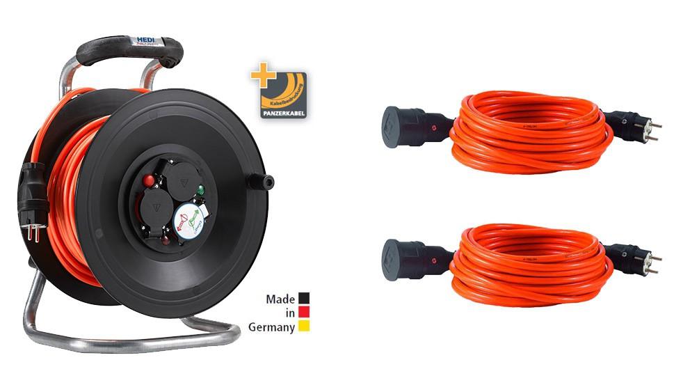 Bedruckungs-Paket 2: 1 x Kabeltrommel Professional Kunststoff in Schwarz, 50 m 2 x Panzerkabel-Verlängerungsleitungen PLUS, 25 m Orange H07BQ-F 3G1,5