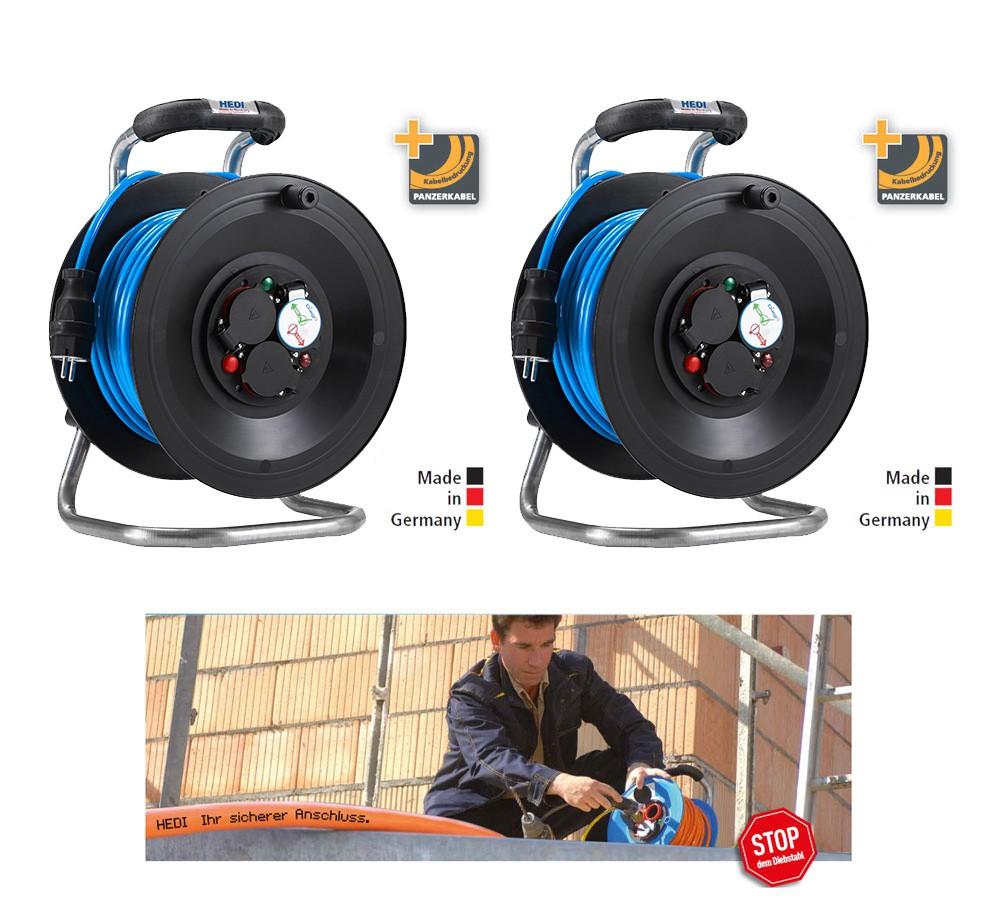 Bedruckungs-Paket 1:11 2 x Kabeltrommel Professional Kunststoff in Schwarz, 50 m H07BQ-F 3G1,5 Blau mit 3-fach- Steckdose DiagS