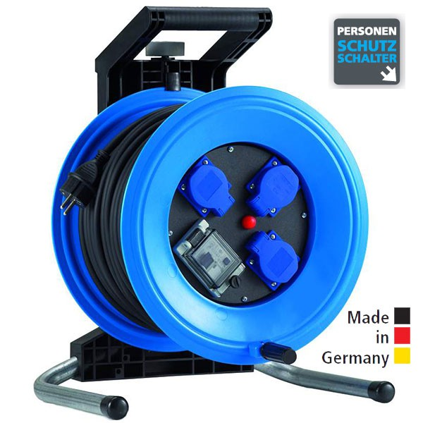 Kabeltrommel Professional  Plus 320 Kunststoff, Neopren-Gummi-Leitung, FI Schalter (RCD) 25 / 0,03A