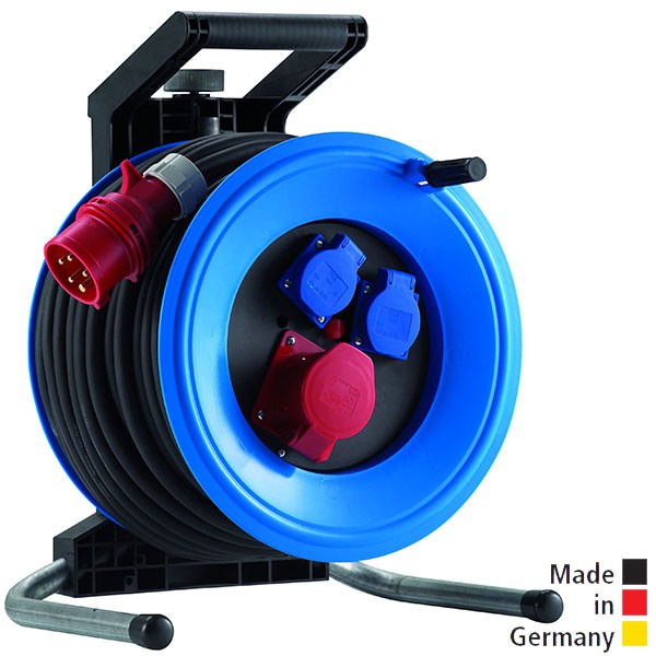 Drehstrom-Kabeltrommeln Professional Plus 320 Kunststoff, Neopren-Gummi-Leitung Eingang CEE 5x32 A - Ausgang 1x CEE 5x32 A und 2x Schuko 250V