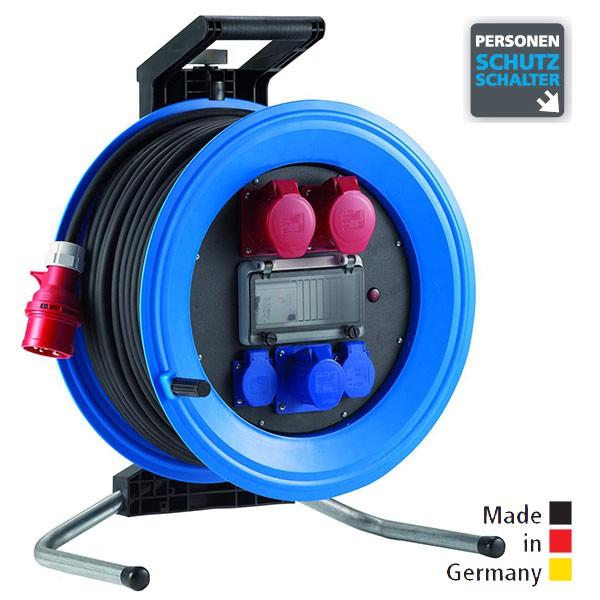Drehstrom-Kabeltrommeln Professional Plus 450 Kunststoff, Neopren-Gummi-Leitung Eingang CEE 5x16 A - Ausgang 2x CEE 5x16 A, 1 CEE 3x16 A, 2x Schuko 250 V