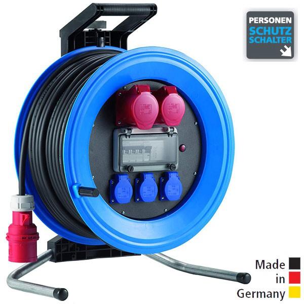 Drehstrom-Kabeltrommeln Professional Plus 450 Kunststoff, Neopren-Gummi-Leitung Eingang CEE 5x32 A - Ausgang 1x CEE 5x32 A, 1x CEE 5x16 A, 3x Schuko 250 V