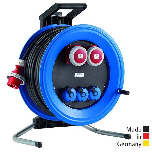 Kabeltrommeln Professional Plus 450 Kunststoff, Neopren-Gummi-Leitung, Eingang CEE 5x16 A - Ausgang 2x CEE 5x16 A, 3x Schuko 250 V