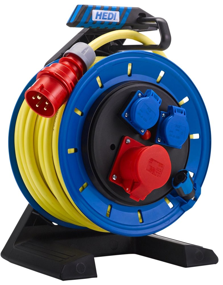 Vollkunstoff Kabeltrommel HEDI Generation 7 25 m Neopren-Gummi-Leitung AT-N07V3V3-F 5G2,5, gelb