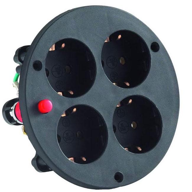 Original HEDI: Ersatzteile für Kabeltrommeln: 4-fach, Schuko mit Thermoschutzschalter, für Kunststofftrommel, Schutzart IP20